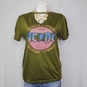 ACDC Highway to Hell Olive Green Keyhole T Shirt
